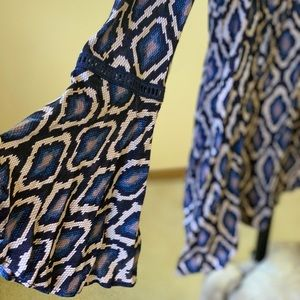 Sexy Indigo Lace-up Bohemian Dress